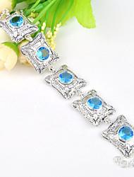 céu fogo rodada gema azul do topázio 0,925 corrente de prata do vintage pulseiras pulseiras para a festa de casamento do feriado