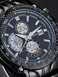 Herren Armbanduhr Japanischer Quartz Kalender Edelstahl Band Schwarz / Silber Marke