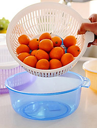 bassin de fruits panier de vidange avec la maison de couvercle à double détenteur des légumes de couche (couleur aléatoire)