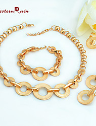 WesternRain Gold Round Jewelry Necklace,Earrings,Bracelet And Ring Set In Yellow Gold Tone 4 Piece