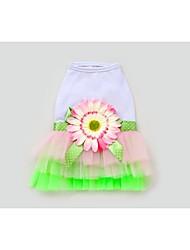 Dog Dress Green Summer Bowknot / Floral / Botanical