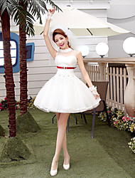 A-line Short/Mini Wedding Dress - High Neck Tulle