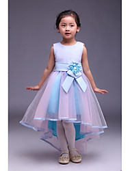 A-line Asymmetrical Flower Girl Dress - Satin / Tulle Sleeveless Jewel with