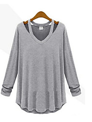 Women's Solid White/Black/Gray T-shirt , Vintage/Casual Halter Long Sleeve Ruffle