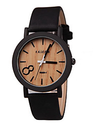Unisex Leather Band Quartz Wrist Watch (Assorted Colors)