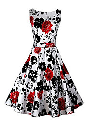 MAKE  Women's Print Red / Black / Purple Dresses , Vintage / Sexy / Bodycon / Party Round Sleeveless