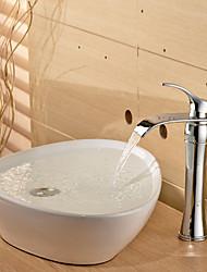 Contemporary Chrome Waterfall Bathroom Basin Faucet - Sliver