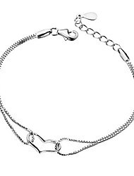 Women's Chain Bracelet Silver Plated Personalized Hypoallergenic Heart Jewelry Silver Jewelry 1pc