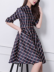 Women's Vintage/Casual/Print/Party/Work Micro-elastic ½ Length Sleeve Knee-length Dress (Chiffon)