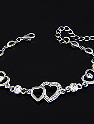 European Style Fashion Heart to Heart  Rhinestone Chain Bracelet
