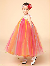 Flower Girl Dress Knee-length Tulle Ball Gown Sleeveless Dress(Headpiece Include)