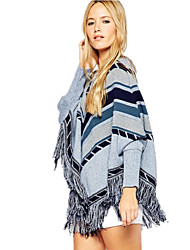 Women's Casual Geometric Patchwork Tassel Batwing Loose Knitted Poncho Sweater