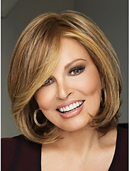 2015 Bob Hairstyles Synthetic Wigs Short Straight Brown Hair Wig for Women Full Peruk with Side Bangs