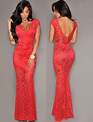 Tan si        Women's Vintage/Sexy/Bodycon/Lace/Party Dresses (Lace)