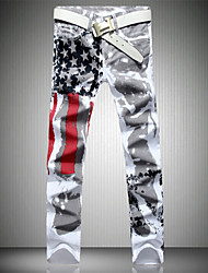 Mens Fashion Design Pomo Personality Jeans Hot Style American Flag Stamp White Jeans