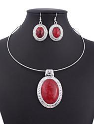 Per donna Set di gioielli Vintage bigiotteria Ovale 1 collana 1 paio di orecchini Per Matrimonio Feste Occasioni speciali Compleanno