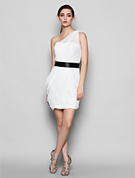 Knee-length Chiffon Bridesmaid Dress Sheath / Column One Shoulder Plus Size / Petite with Side Draping