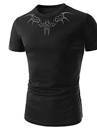 Bodycon/Informeel/Zakelijk Rond - MEN - T-shirts ( Katoenmengeling )met Korte Mouw