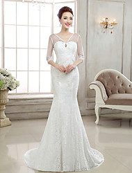 Trumpet/Mermaid Sweep/Brush Train Wedding Dress -V-neck Lace