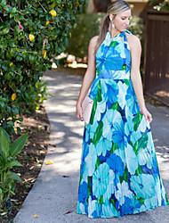 De las mujeres Línea A Vestido Fiesta Floral Maxi Halter Raso