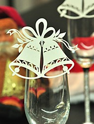 12pcs Bell Wine Glass Card Escort Cup Card Table Name Number Place Card for Christmas Party Window Decorations
