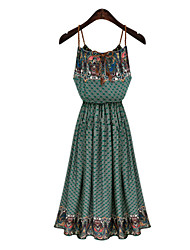Women's Sexy Casual Print Cute Maxi Plus Sizes Micro Elastic Sleeveless   Dress (Microfiber)