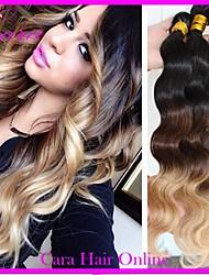 3st mycket 14-26 tum brasiliansk ombre hårförlängningar vågigt färgar 1b / 4/27 mänskliga hårvävweften