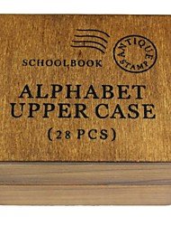 26 English Alphabet + ! + ? Pattern Wood Seal Stamp