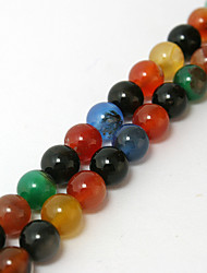 Beadia 38Cm/Str (Approx 48PCS) Natural Agate Beads 8mm Round Dyed Mixed Color Stone Loose Beads DIY Accessories