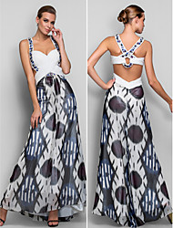 Formal Evening/Military Ball Dress - Print A-line/Princess Straps Floor-length Chiffon