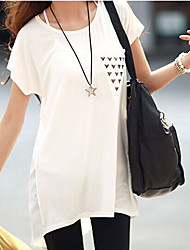 Women's Round Neck Sequins T-shirt , Cotton Short Sleeve