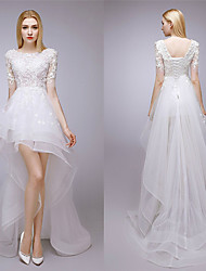 A-line Wedding Dress - White Asymmetrical Jewel Lace / Tulle