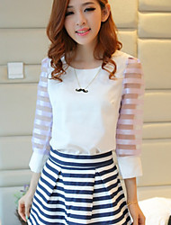 Women's Casual Cute Micro Elastic Short Sleeve Regular Blouse (Chiffon)