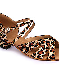 Non Customizable Women's / Kids' Dance Shoes Satin Satin Latin High Heels Chunky Heel Practice / Beginner / Professional / Indoor Leopard