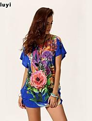 Mulheres Camiseta Casual Simples Verão,Floral / Estampado Azul / Branco / Verde / Amarelo Seda Decote Redondo Manga Curta Fina