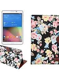 Blumentuch lederner Fall mit Halter&Kartensteckplätze&Brieftasche für Galaxy Tab ein 8.0 / t350