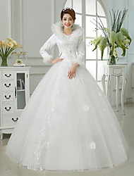 Ball Gown Wedding Dress Floor-length V-neck Cotton / Organza / Satin with