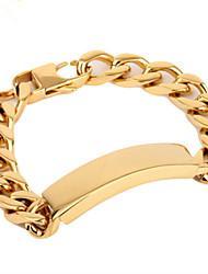 L:21CM Wide:1.3CM Fashion Stainless Steel Gold 316L Men Cool Link Cuff Bracelet(1PC)