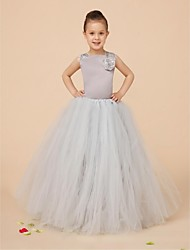 Ball Gown Floor-length Flower Girl Dress - Satin / Tulle Sleeveless Square with
