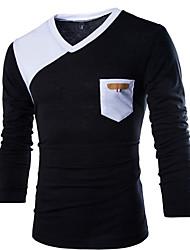 T-Shirts ( Coton biologique ) Informel Col V à Manches longues