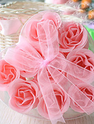 9pcs Scented Flower Bath Body Soap Rose Petals Jewery Ring Heart Shape Box (Random Color)
