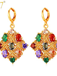 U7® Women's Luxurious Gemstone Earrings Fashion Women Jewelry 18K Gold/Platinum Plated Multicolor Crystals Drop Earrings