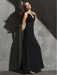 TS Couture Formal Evening Dress - Beautiful Back Sheath / Column V-neck Floor-length Georgette with Crystal Detailing