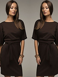 Women's Solid Color Brown Dresses , Bodycon Round Long Sleeve