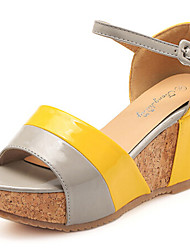 Women's Shoes Faux Leather Wedge Heel Wedges Sandals Casual Yellow/Red