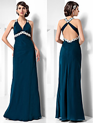 Formal Evening/Military Ball Dress - Ink Blue Plus Sizes Sheath/Column Halter Floor-length Chiffon