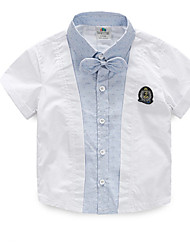 Boy's Cotton Medium Leisure Bowknot Lapel Short Sleeve Shirt