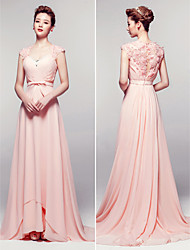 Homecoming Sheath/Column V-neck Floor-length Chiffon Evening Dress