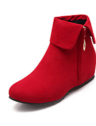 Women's Shoes Fleece Wedge Heel Wedges/Fashion Boots/Round Toe Boots Dress Black/Brown/Red/Gray
