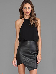 Women's Sexy / Casual Solid / Patchwork Bodycon Dress , Strap Above Knee Chiffon / Faux Leather